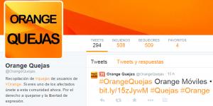 cuenta de quejas de Orange en Twitter